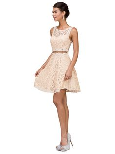 61ffa941ccc DQ 2053 - Short Lace V-Neck Homecoming Party Dress With Sheer Waist