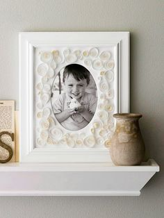 An embellished picture frame makes a lovely gift! More Mother's Day gift ideas: http://www.bhg.com/decorating/do-it-yourself/fabric-paper-projects/low-cost-home-decorating-with-paper/#page=4