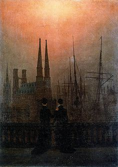 Casper Friedrich- Two Sisters. This one depicts two sisters who have sailor husbands, and they're waiting for their men to come home. LOVE it! so cool! His color schemes are awesome, and his lines were so geometric (kind of different for someone in the eastern romantic period)