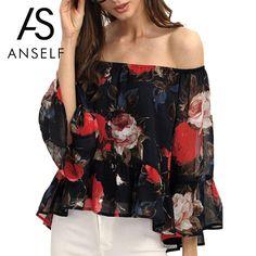 Fashion Women Off Shoulder Chiffon Blouse Slash Neck Floral Print Summer Casual Shirt Women Beach Tops  #cute #fabolous #streetstyle #igfashion #beauty #happy #instamood #outfitoftheday #photooftheday #repost