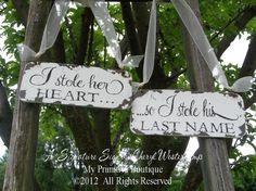 I STOLE HER HEART... So I Stole his Last Name Set, Chair Hangers, Shabby Chic Wedding, Beach Wedding, Vintage Wedding Decor, Rustic Wedding on Etsy, $36.00
