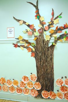 collaborative fall tree + pumpkins by preK students. Done by my students last year.