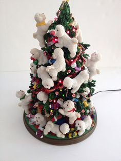 Danbury Mint BICHON FRISE Light-Up Christmas Tree - Excellent- Original Box
