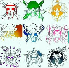 Straw Hat Crew, Mugiwara, Luffy, Sanji, Zoro, Nami, Chopper, Usopp, Brook, Franky, Robin, skulls, pirate flags, symbols; One Piece