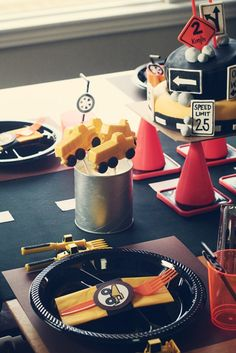 Truck/Construction Party  cut cheese out with little truck/tool shapes