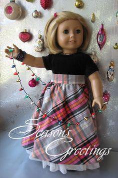 A Doll for all Seasons.  Christmas outfit for Ameican Girl 18 inch doll