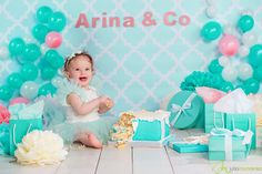 Tiffany jewelry theme for first cake in mint and white colors, funny dress, box. Huge cake. smile. Cakesmash, smashcake for girl is great Birthday party