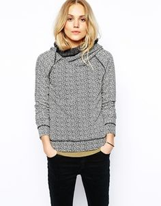 Maison Scotch Sweatshirt in Mixed Yarn with Side Zip