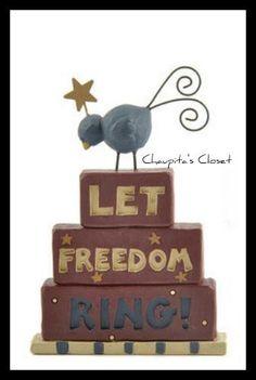 Blossom Bucket Americana LET FREEDOM RING Birds Patriotic Home Decor July 4th  #BlossomBucket #Country