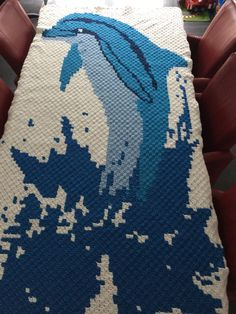 C2c dolphin pixel blanket (afghan)