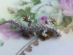 Vintage CAROLEE Crystal Rhinestone Lizard Reptile Pin Brooch by Holliezhobbiez on Etsy
