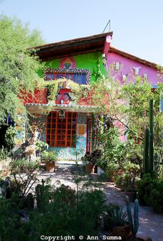 San Miguel de Allende, Guanajuato, Mexico: the eclectic home of Anado McLauchlin and his husband Richard Schultz is covered in tile mosaic c...
