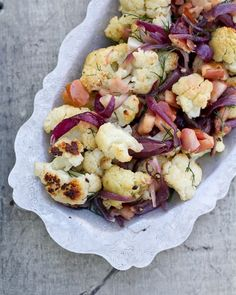 Roasted cauliflower with apple and dill