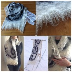 Nuno felted shawl - lambs wool and locks, silk and lace.