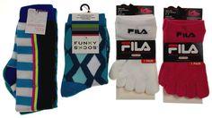6 Pairs Socks FILA Skele Toes 5 Toe Xhilaration Knee High Funky Girls Pink White - FUNsational Finds - 1