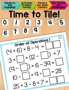 Math Tiles: Order of Operations 1 {Equations Without Exponents}. A fun, hands-on way to reinforce the orders of operations, while engaging problem solving skills and develop algebraic thinking. $