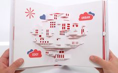 Vision urbaine en paper art design à l'intérieur du pop up book de Lacoste L!ve