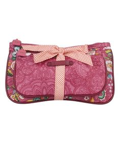 Pink French Flowers Bow Tie Cosmetic Bag by Oilily #zulily #zulilyfinds