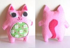 Pink cute felt plush cat by yael360