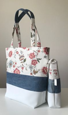 Recycling, denim, jeans, flowers, white, colorfull, womens bag, shoulder bag