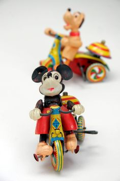 antique toys | Mickey Mouse and Pluto Tricycle Tin Wind Up Linemar Antique Toys #AntiqueToys