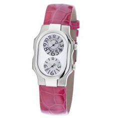 """Philip Stein Women's 'Signature' Pink Leather Strap Dual Time Watch    $474.57 ok people swear these """"Save their life"""" lol, I want oneeee… pleaseee  www.overstock.com!    I would prefer a teslar one but this pink leather strap is just lovely <3"""