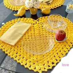 Standard gialla cuore su crochet con grafica ~ modello Crochet