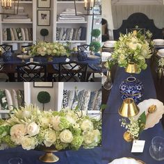 Loving this collaboration with @onekingslane So honored to be a part of such a great luncheon in their gorgeous design studio. @stylemepretty @sweetgreen @abbydlarson what a great way to kick off Memorial Day Weekend! We are loving the mix of #royal #blue #gold #white #green #flowers by bastilleflowersnyc