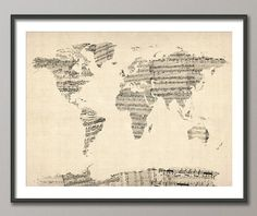 gorgeous sheet music world map print (etsy seller also does watercolor, rolled paint, typography, clock, light writing maps. so cool.)