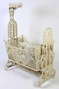 Now that is what you call ornate~ Victorian White Painted Wicker Cradle.early Century with tall support mounted with a crown above rectangular cradle having scrolled and turned open work frame. Victorian Furniture, Victorian Decor, Wicker Furniture, Baby Furniture, Victorian Homes, Victorian Era, Antique Furniture, Geek Furniture, Muebles Estilo Art Nouveau