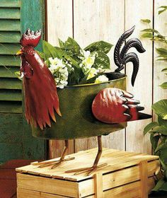 Find This Pin And More On Идеи для дома By Hripko_o. New Whimsicle Metal  Rooster Planter Garden Yard Outdoor Decor