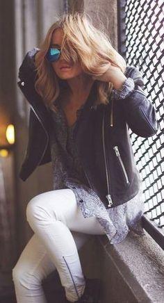 fall fashion leather jacket knit