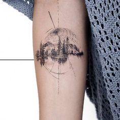 Artista Tatuador: Fernando. Tags: categorías, Esbozos, Gráficos, Naturaleza, Bosques. Partes del cuerpo: Antebrazo interior.