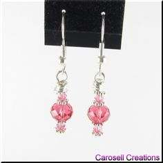 Petite Pink Swarovski Crystal Beaded Earrings TAGS - Jewelry, Earrings, Beaded, carosell creations, wire wrapped, silver, pink, swarovski, new, rondelle, bicone, girl, glass, seed beads, crystal, daisy, spacer, petite, small, dainty, dangle, occasion, prom, ladies, fashion, gift, costume jewelry, teen, dance, date, sweet 16, earrings, birthday, handmade, etsy, women