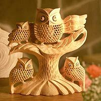 "Wood statuette, 'Mother Owl and Chicks' $214.16 10.2"" H x 9.1"" W x 3.5"" D  With big, bright eyes and nocturnal vision, the owl sees everything that surrounds her. Suresh Garg presents the inquisitive bird in exquisite detail. Carved from a single block of kadam wood, the body is crafted in classic jali, or openwork, with a tiny owl inside the latticed body. Three young owlets join their mother in the tree."