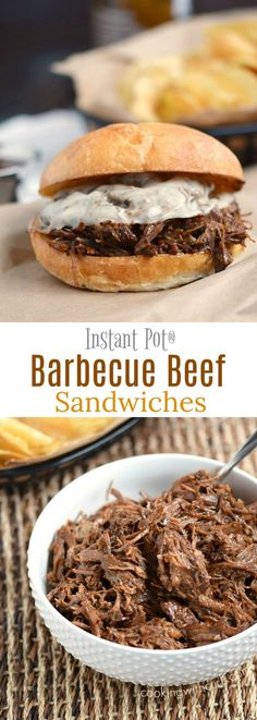 These Instant Pot Barbecue Beef Sandwiches are insanely delicious, and crazy easy to make! cookingwithcurls.com