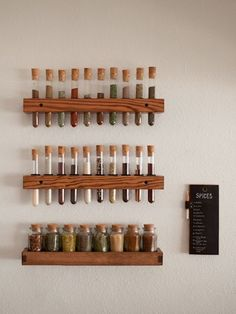 Test tube spice rack - maybe at PROTO? Hanging Spice Rack, Diy Spice Rack, Test Tube Spice Rack, Test Tube Holder, Wall Mounted Spice Rack, Diy Kitchen, Kitchen Decor, Kitchen Spice Storage, Kitchen Rack