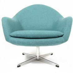 Danish Mid Century Modern Teal Swivel Overman Style Lounge Chair
