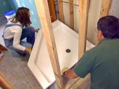 Our DIYNetwork.com experts show a homeowner how to install a custom shower kit in a bathroom with little available space.