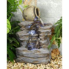 An Old World jug spills water down the stony path of the Design Toscano Spilling Jug Cascading Garden Fountain , creating a playful babbling sound. Indoor Water Fountains, Garden Fountains, Outdoor Fountains, Indoor Waterfall Wall, Fountain Design, Fountain Ideas, Waterfall Fountain, Garden Waterfall, Tabletop Fountain