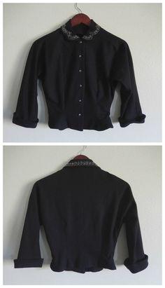 60s Black Wool Blouse Jacket // Vintage by DizzyDreamerVintage on Etsy