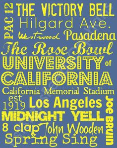 Need a gift for your favorite Bruin? Let us make them a sign and your purchase feeds an orphan for a month! UCLA Subway Art on an 11 x 14 canvas by EstSignsFeedsOrphans, $30.00