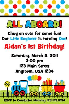 NEW Choo Choo Train Party Invitations   by PinkInkCreation