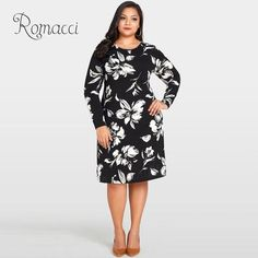 a8c68235d17 Romacci Women Floral Print Dress O-Neck Long Sleeve Loose Flower Midi Dress  Casual 4XL 5XL Plus Size Autumn Dress Black Vestido
