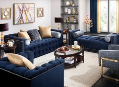 One Thing to Do for Beautiful White and Blue Living Room Decor - myriaddecor Blue And Gold Living Room, Blue Couch Living Room, Blue Living Room Decor, Glam Living Room, Living Room Color Schemes, Living Room Grey, Living Room Designs, Blue Living Room Furniture, Cozy Living