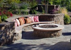 Performing the Fire Pit Design Ideas in More Dinner and Party: Backyard Fire Pit Exterior Inspiration Outdoor Classic Circled Fire Pit Seating Rounded Fire Pit Ideas On Pavered Backyard As Inspiring Small Patio Ideas On Outdoor