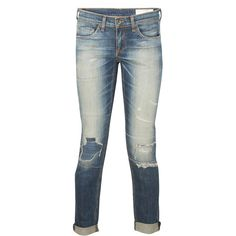 Rag & Bone Dre Distressed Boyfriend Jean ($228) ❤ liked on Polyvore featuring jeans, pants, bottoms, trousers, blue, destroyed jeans, white ripped boyfriend jeans, blue jeans, ripped blue jeans and distressed boyfriend jeans