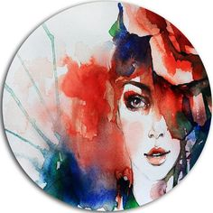 """DesignArt 'Woman with Rose Illustration' Painting Print on Metal Size: 11"""" H x 11"""" W x 1"""" D"""