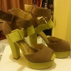 Nasty Gal Platform Heels Lime green and grey 5 inch platform heels. Double straps. Micro fiber material. Purchased from Nasty Gal Nasty Gal Shoes Platforms
