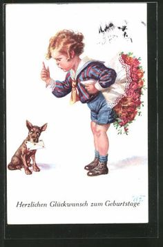 Artiste-AK-wally-Fialkowska-chien-il-apporte-filleule-avec-bouquet-de-fleurs